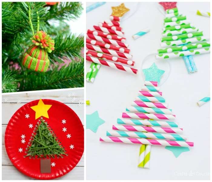 diy tannenbäume, weihnachten basteln, bunte stohhalme, roter teller, hut aus garn