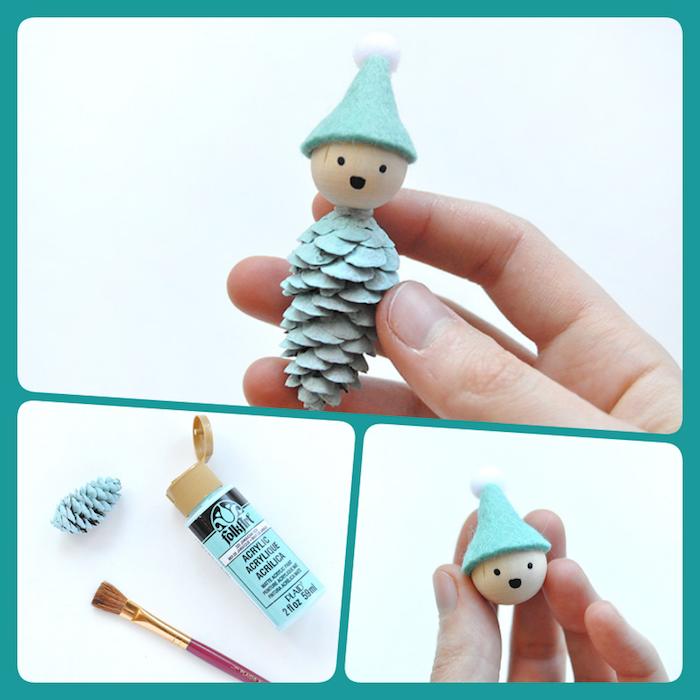 Weihnachtsschmuck selber machen mit Kindern, basteln mit Zapfen, einfache DIY Idee zum Nachmachen