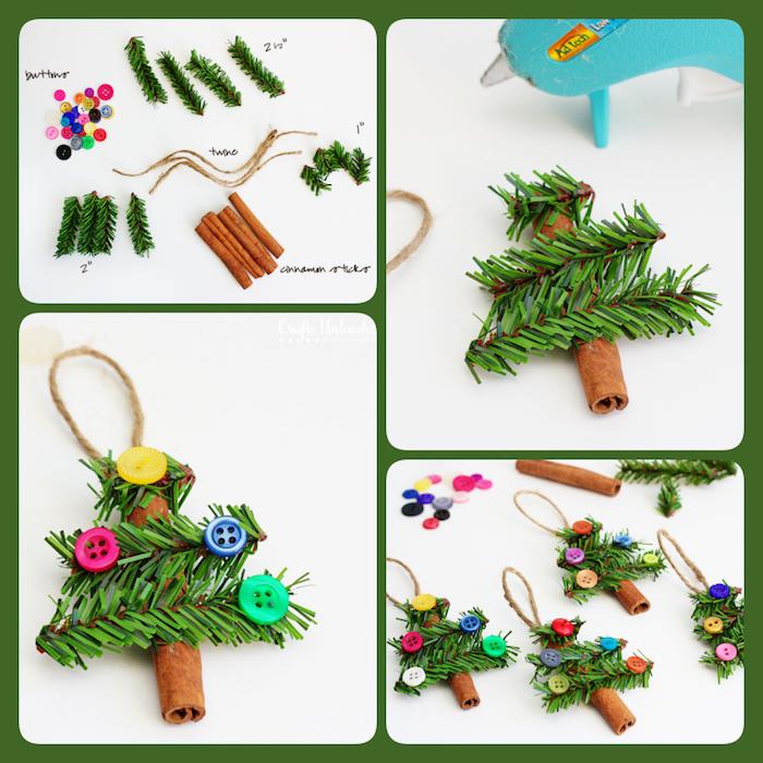 Weihnachtsbaum selber basteln aus Tannenzweigen, Zimt und bunten Knöpfen, DIY Anleitung in vier Schritten