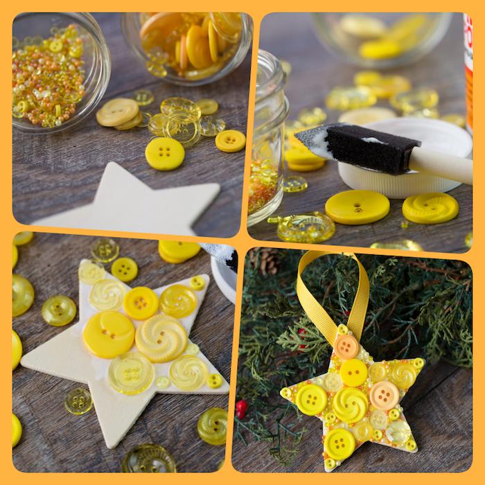 Weihnachtsschmuck mit Kindern basteln, gelber Stern mit Knöpfen bekleben, Anleitung in vier Schritten