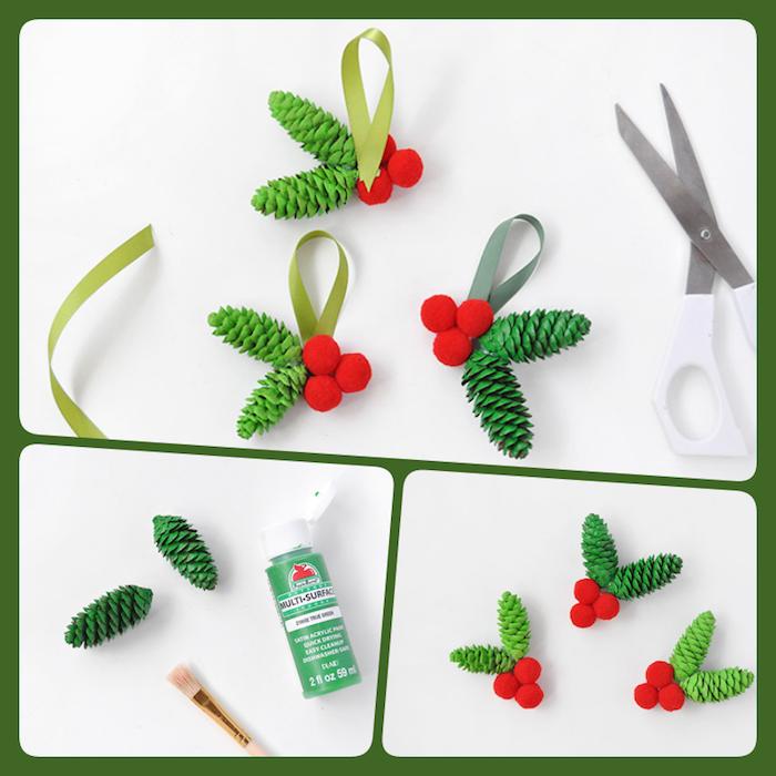 Weihnachtsschmuck aus Zapfen und roten Pompons selber machen, Weihnachtsbasteln mit Kindern