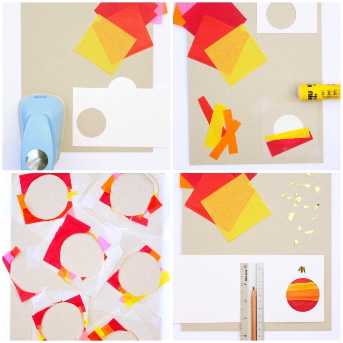 karten selber machen anleitung, weihnachten basteln, roter und gelbes seidenpapier, diy