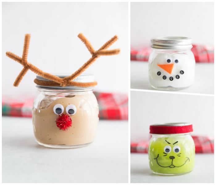 weihnachten basteln, schleim selber machen, einmachglas dekoriert wie hirsch, schneeman