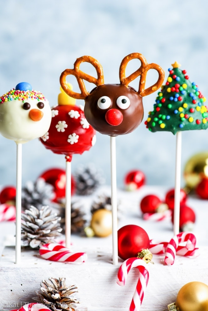 weihnachtliches dessert ideen, cake pops selber machen und dekorieren, hirsch, schneemann