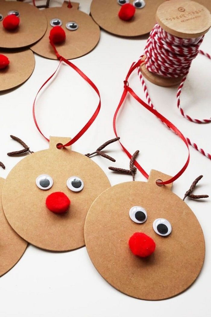 Rentiere aus dickem Papier selber machen, Basteln zu Weihnachten mit Kindern, DIY Weihnachtsschmuck