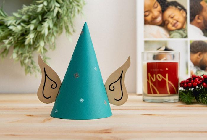 Elf Hut aus Karton selber machen, Basteln mit Kindern zu Weihnachten, basteln mit Papier