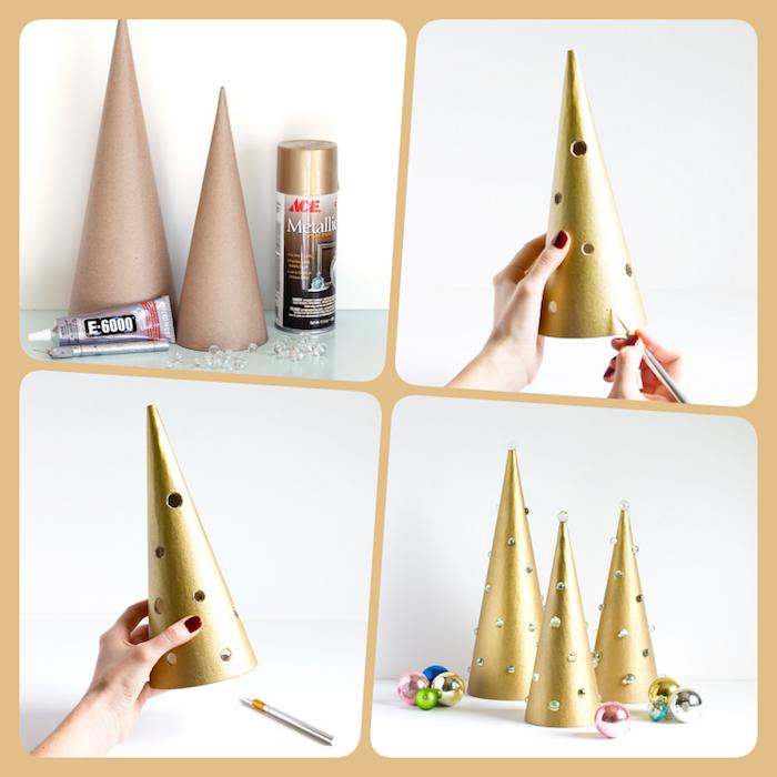Kleine goldene Weihnachtsbäume selber machen, DIY Anleitung in vier Schritten, Kegel aus Karton mit goldenem Spray besprühen, Perlen befestigen