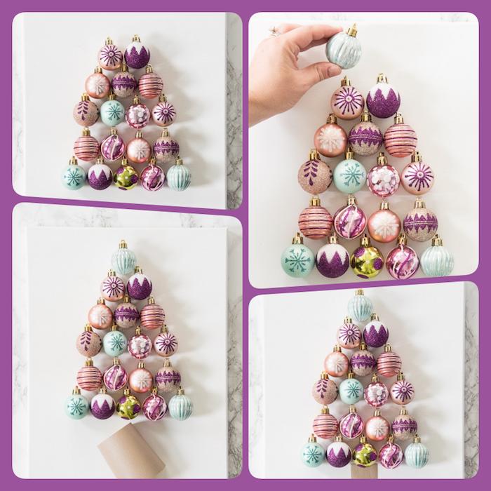 Weihnachtsbaum aus bunten Weihnachtskugeln selbst gestalten, DIY Anleitung in vier Schritten