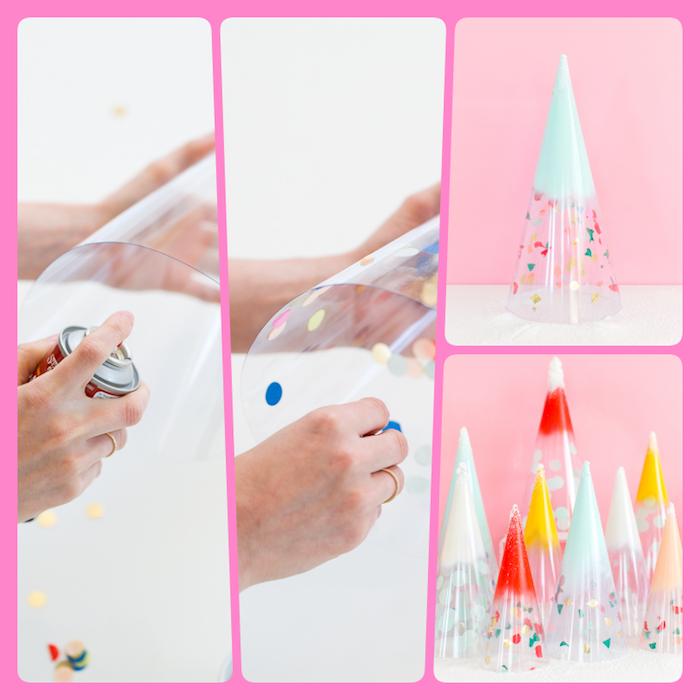 Mini Weihnachtsbäume aus durchsichtiger Folie selber machen, mit Spray besprühen, kleine bunte Stücke Papier kleben