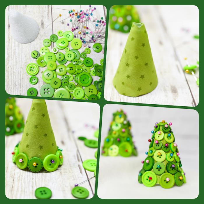 Kleine Weihnachtsbäume aus Styropor selber machen, mit grünem Stoff bekleben, grüne Knöpfe mit Stecknadeln befestigen