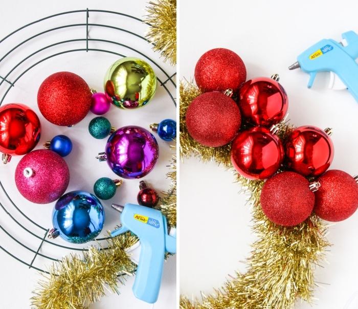 weihnachtsdeko basteln, weihnachtskranz aus weihnachtskugeln selber machen, heißklebepistole
