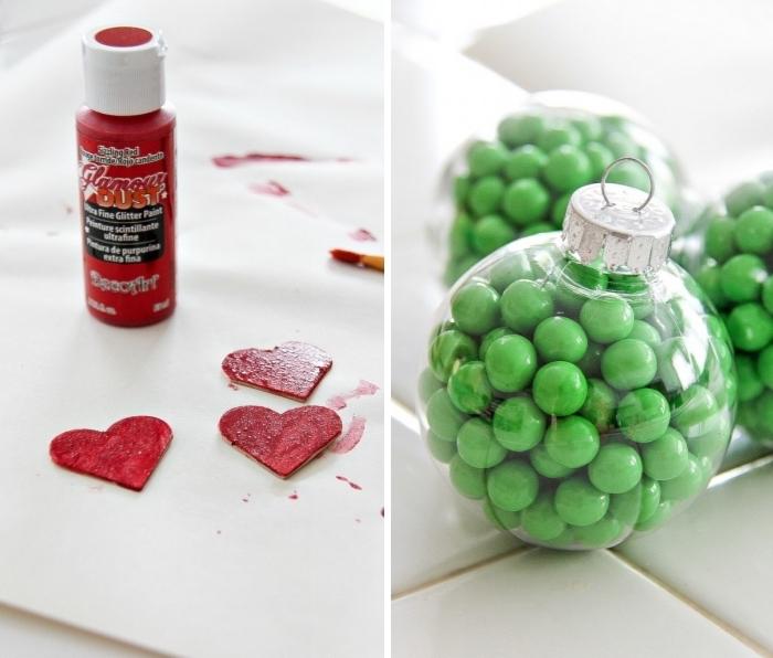 weihanchtsdeko basteln, grüne bonbons, rote farbe, christbaumschmuck diy