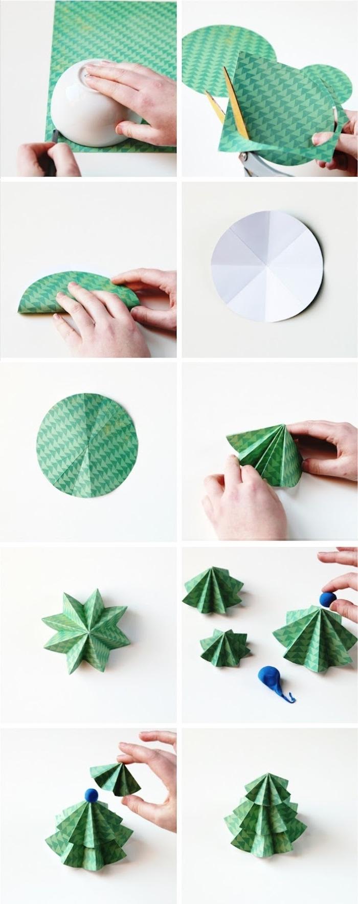 Kleinen Weihnachtsbaum aus Papier selber machen, DIY Anleitung in zehn Schritten, Basteln mit Kindern