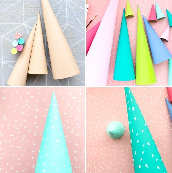 bastelideen zu weihanchten, diy tutorial, weihnachtsdeko basteln, papierkegel färben,