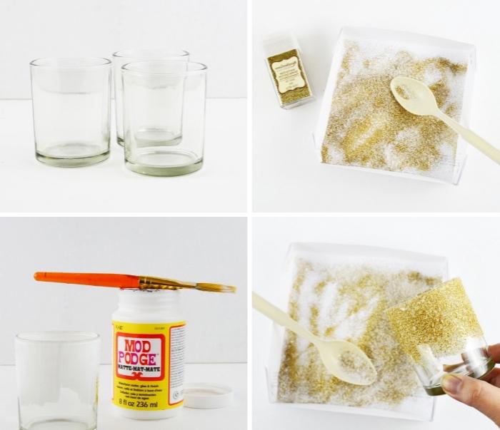 weihnachtsdeko basteln, teelichthalter selber machen, mod podge, goldener glitzer