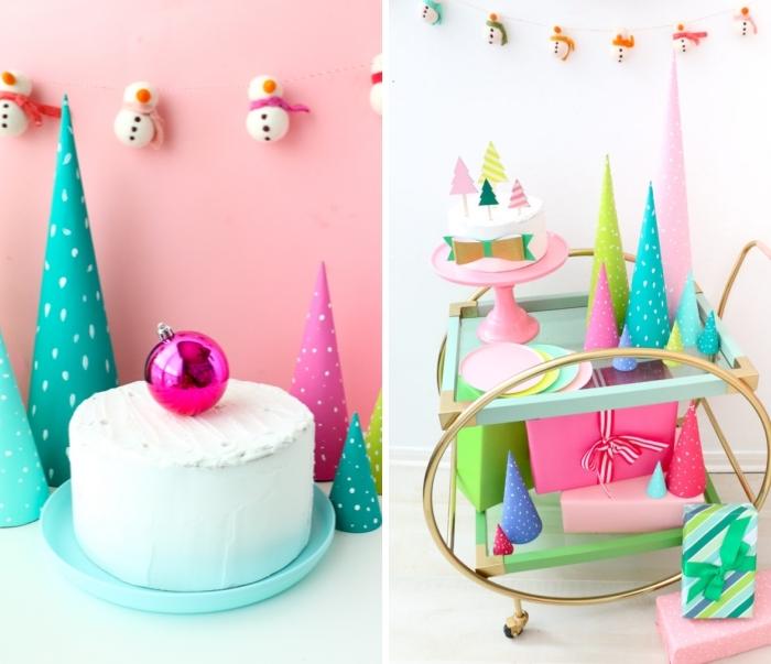 weihnachtsdeko basteln, torte mit rosa weihanchtskugel, girlande mit schneemännern, partydeko
