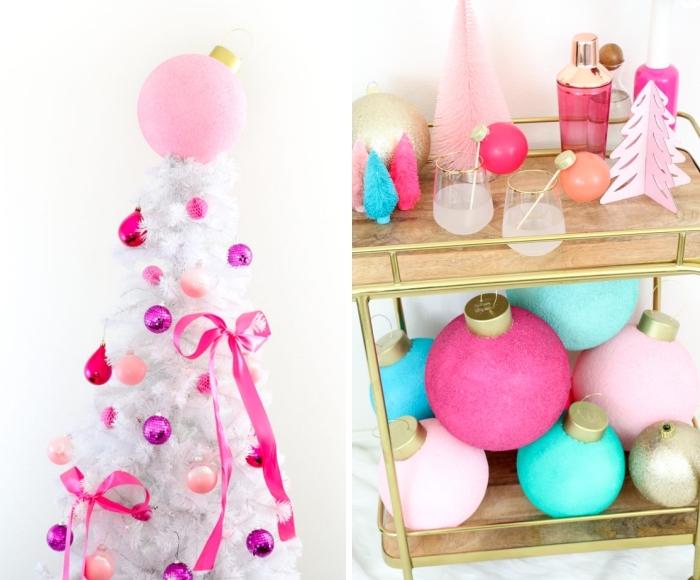 weihnachtsdeko basteln, rosa schleife, weißer kunstlicher tannenbaum, partydeko