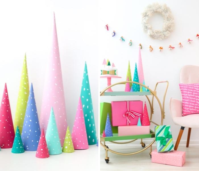 weihnachtsdeko basteln, weißer kranz, partydeko ideen, tannenbäume aus papier, kegel