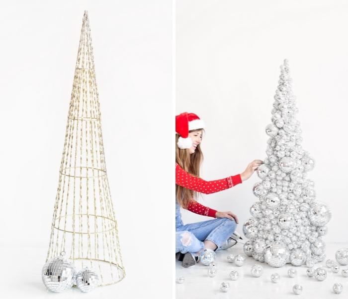 ausgefallene weihnachtsdeko selber machen, christbaum aus diskobällen, frau mit roter bluse