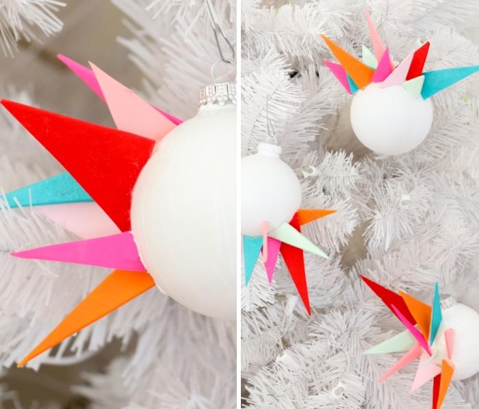 weihnachtsdeko basteln, asymmetrische weihnachtskugeln, geometrische elementen
