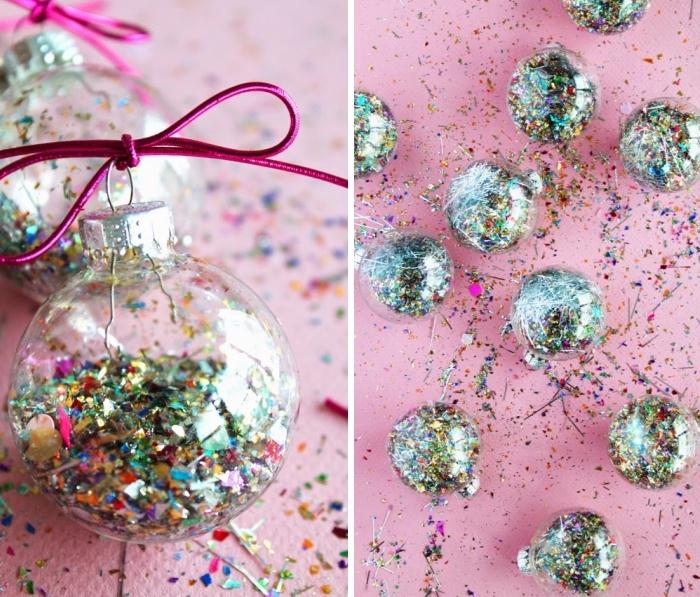 weihnachtsdeko basteln, transparente weihnachtskugeln, bunte konfetti, rosa schnur