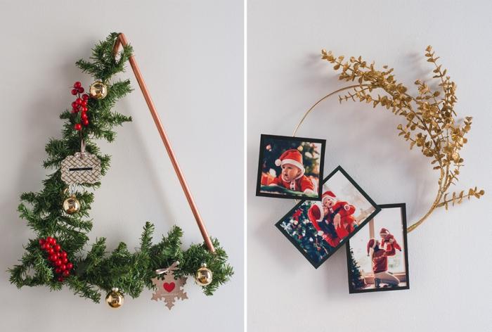 dreick aus messingröhren, tannenzweige und rote früchte, weihnachtsdeko ideen, familienfotos