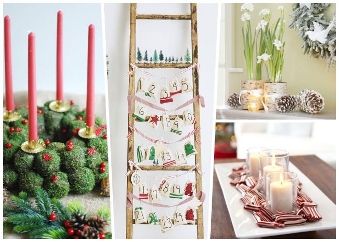 weihnachtsdeko modern, adventsdeko machen, rote kerzen, selbstgemachter kranz, leiter