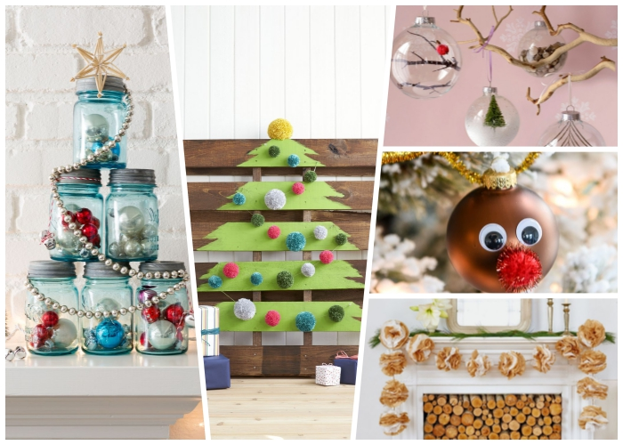 tannenbaum basteln, weihnachtsdeko modern, blaue einmachgläser, christbaum aus europalette, hirsch