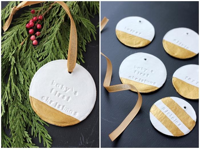 christbaum schmuck basteln, weihnachtskugel aus weißem ton, weihnachtsdeko modern, goldene farbe