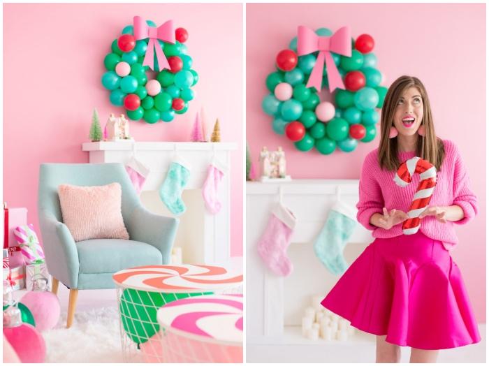 weihnachtsdeko modern, selbstgemachter kranz aus luftballons, partydeko zu weihnachten, rosa wand