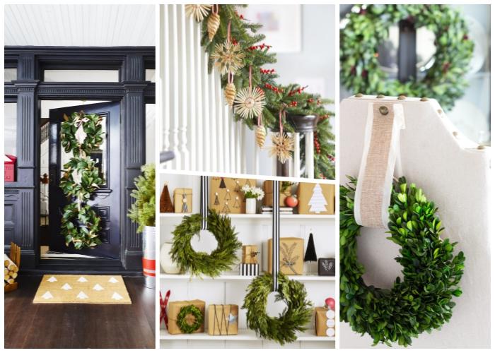 deko zu weihanchten, kranz aus grünen zweigen, weihnachtsdeko modern, schwarze tür