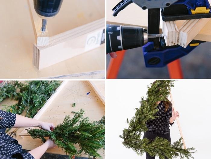 weihnachtsdeko selber basteln, dreickiger kranz, grundlage aus holzdielen, grüne zweige