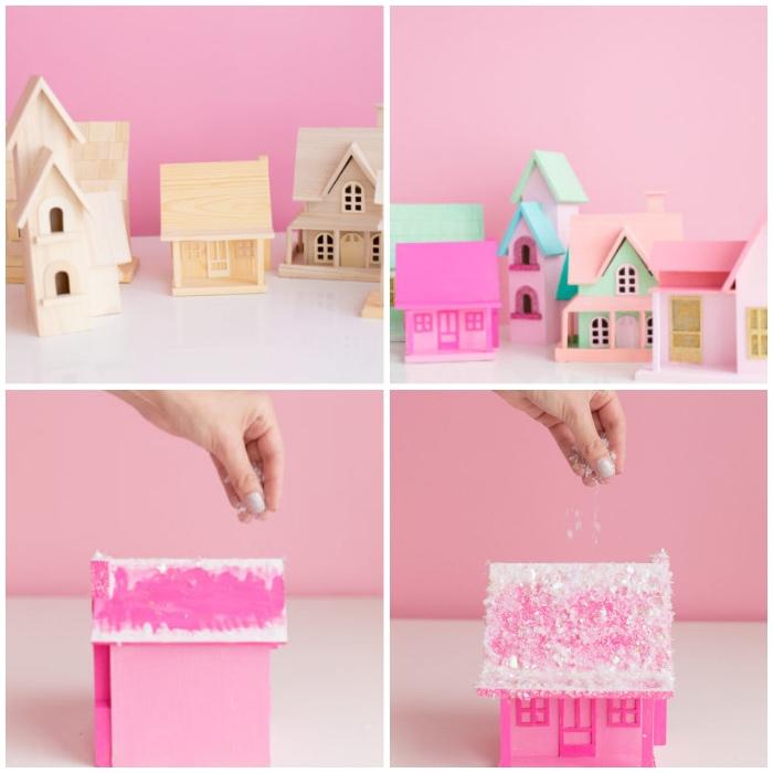 rosa wand, kleine häuser aus holz, weihnachtsdeko selber basteln, kunstschnee