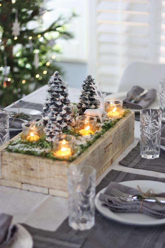 weihnachtsdeko selber basteln,teelichthalter aus glas, kleine kerzen, mittelpunkt tisch