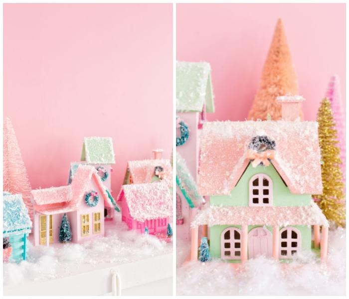 weihnachtsdeko selber basteln, rosa wand, häuser aus holz dekoriert mit kunstschnee