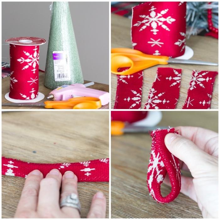 weihnachtsdeko selber basteln, roter stoff mit schneeflocke, kegel aus kunststoff, schere