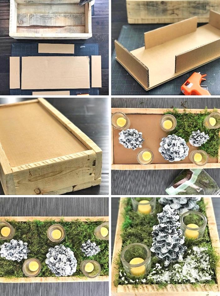 weihnachtsdeko selber basteln, stücke pappe, tischmittelpunkt selber machen, grüne zweige, kerzen