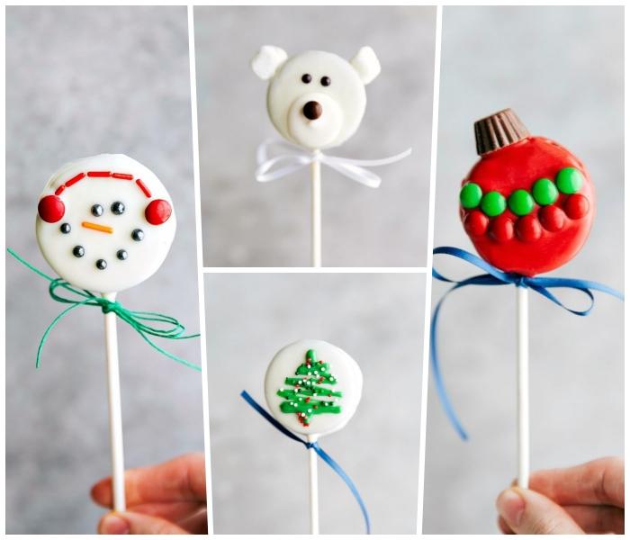ideen zum weihanchten, weihnachtsdessert zum vorbereiten, lutcher aus keksen und glasur, partz essen