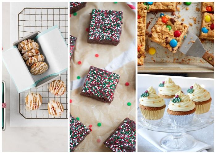 weihnachtsdessert zum vorbereiten, kuchen mit schokolade, keksen mit weißer glasur, cup cakes