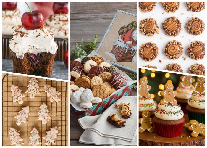 weihnachtsdessert zum vorbereiten, muffins mit schokolade und kirschen, keksen mit nüssen