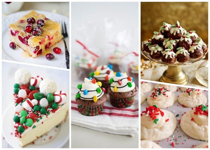 weihnachtsdessert zum vorbereiten, kuchen mit früchten, rote dekoriert mit bonbons, muffins mit schokoalde