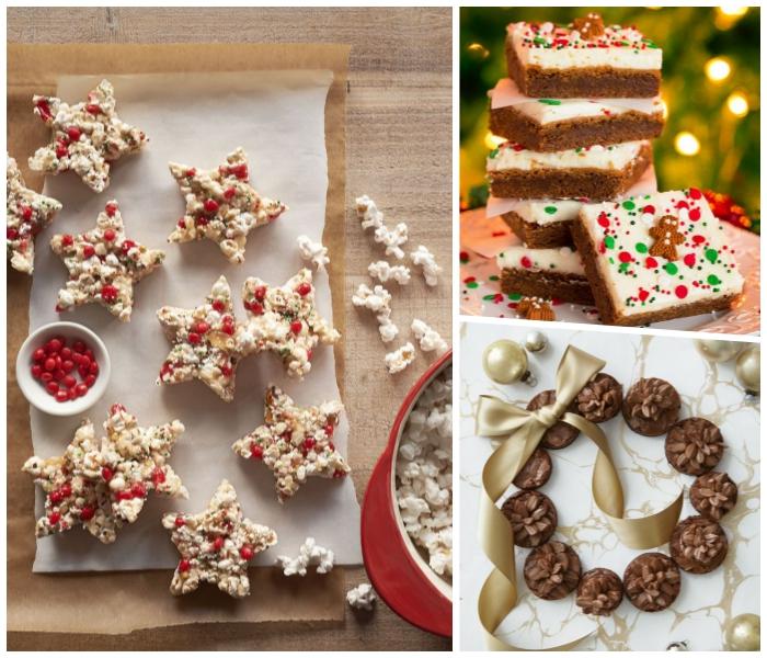 weihnachtsdessert zum vorbereiten, weihanchtskrans aus schokokeksen, goldene schleife, küchen mit ingwer