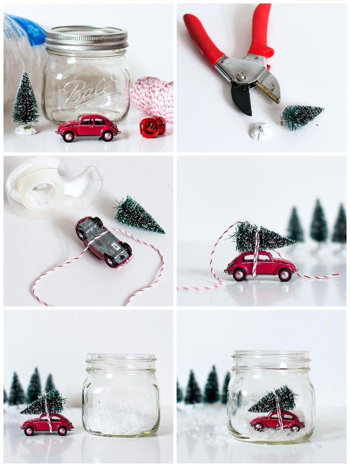 weihnachtsgeschenke selber machen, schneekugel basteln, rotes auto, kleines einmachglas