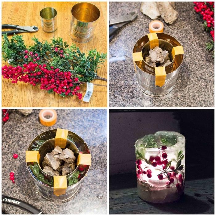 weihnachtsgeschenke selber machen, kunstzweige und früchten, diy kerze, konservendosen