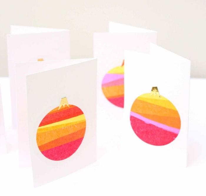 weihnachtsgeschenke selber machen, orangenfarbene weihnachtskugeln, selbstgemachte weihnachtskarten