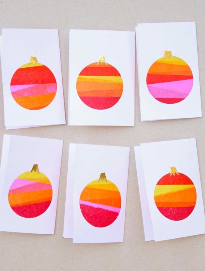 selbstgemachte karten aus druckpapier und seidenpapier, weihnachtsgeschenke selber machen, anleitung