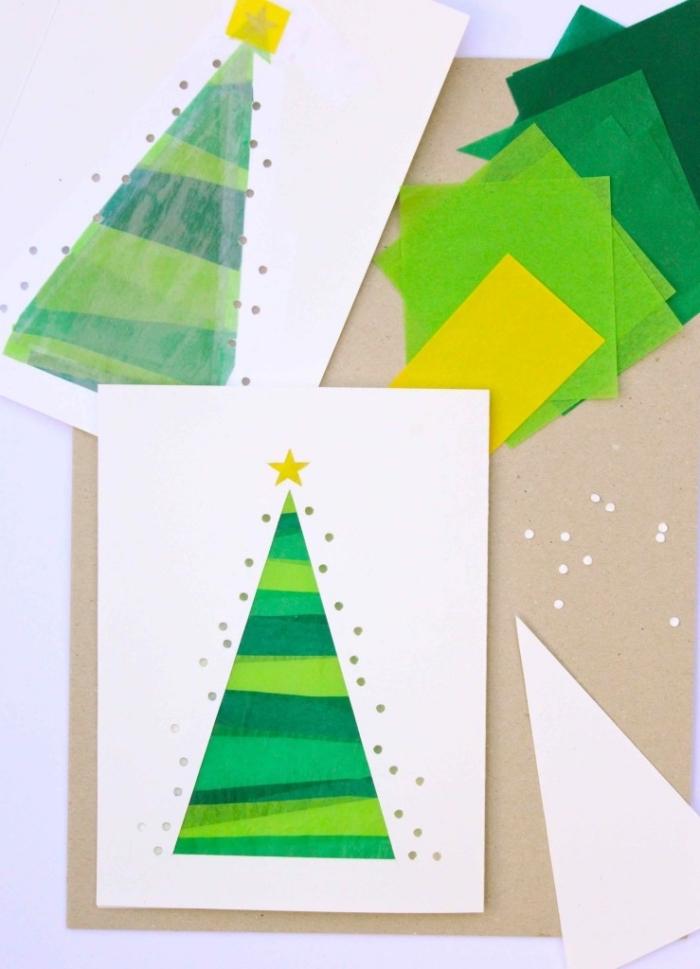weihnachtsgeschenke selber machen, grünes und gelbes seidenpapier, selbstgemachte karten