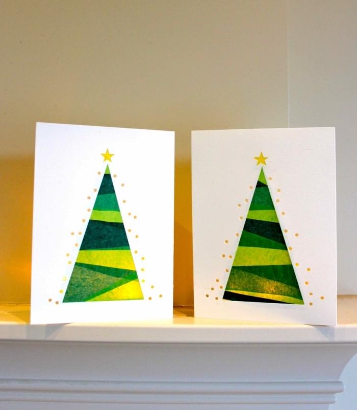 karten aus druckpapier, weihnachtsgeschenke selber machen, grünes seidenpapier