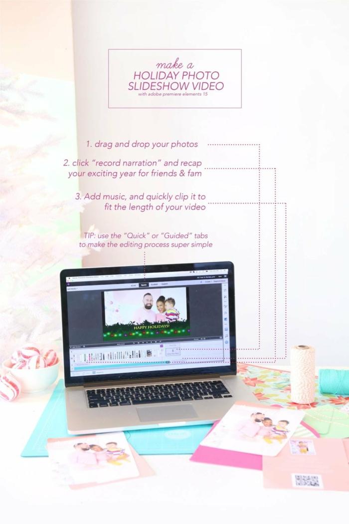 Weihnachtskarten Design, mit einem Program ein Video erstellen und zu der Karte schicken