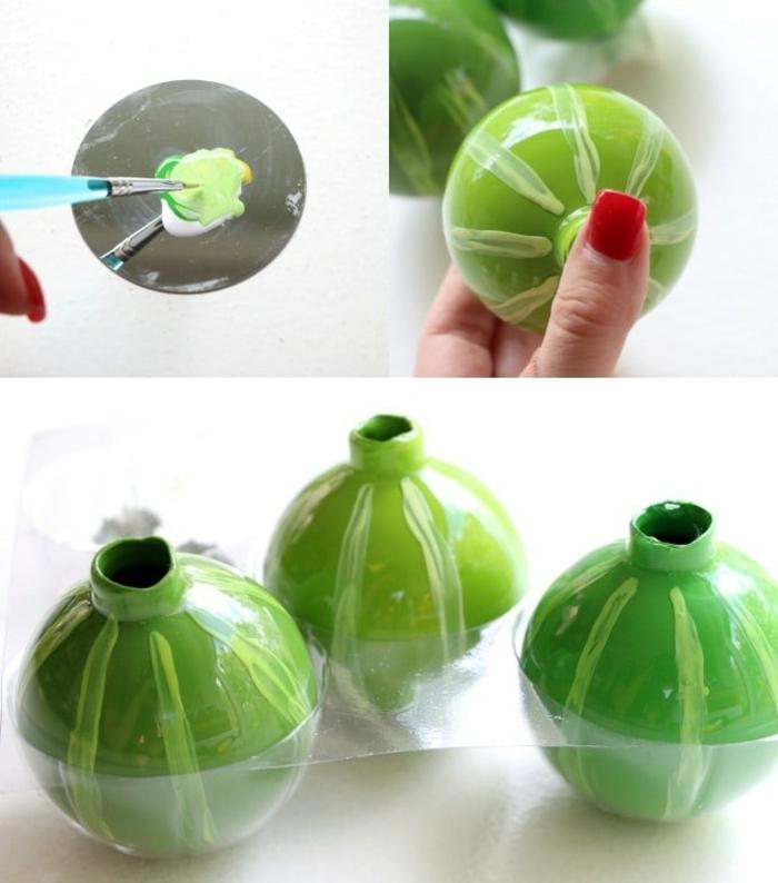 grüne Kugeln, Weihnachtskugeln selber machen, mit Nagellack schmücken, in drei Schritten